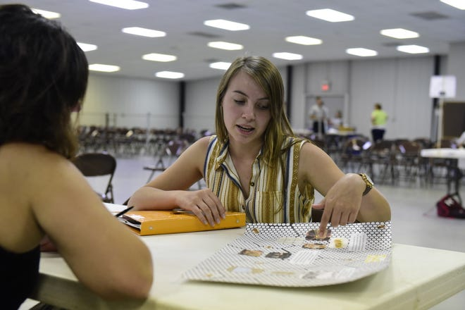 Gabrienna Wilson, 17, of Bucyrus, explains her beekeeping project Saturday during judging at the Crawford County Fair.