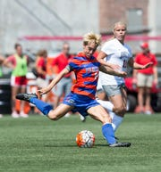 Claire Falknor takes a shot in an Aug. 23, 2015, University of Florida game at Ohio State. Florida lost 1-0 in overtime.