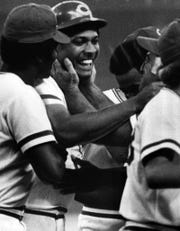 "July 26, 1974: ""Beautiful, Tony, Beautiful!"": That's what Cincinnati Reds Manager Sparky Anderson must be saying to Tony Pérez after his dramatic, game-winning home run at Riverfront Stadium."