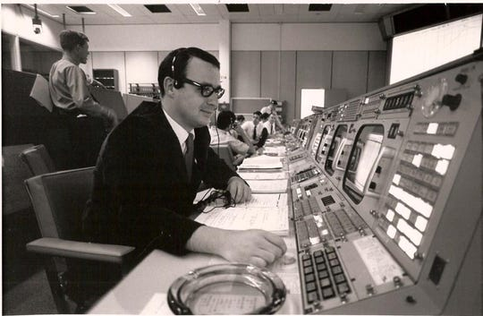 Native Iowa Steve Bales sits at NASA Mission Control in this 1960s-era photo. Bales was instrumental in figuring two computer errors that could've scrubbed the moon landing which happened 50 years ago July 20, 1969.