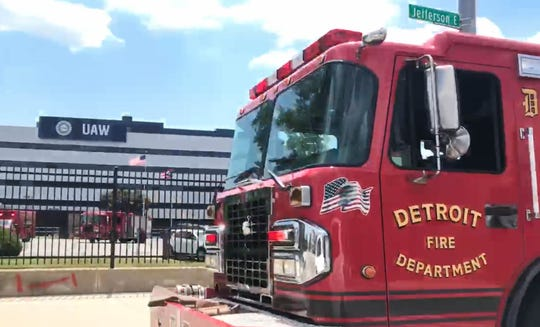 The Detroit Fire Department responds to a reported fire at United Auto Workers' headquarters on Jefferson Avenue in Detroit on Saturday, July 13, 2019.