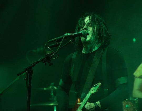 """Jack White of the Raconteurs performs at the Masonic Temple in Detroit on Friday, July 12, 2019. They released their latest album, """"Help Us Stranger,"""" last month."""