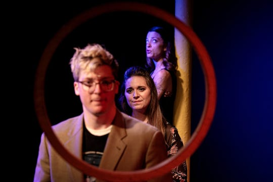 "Eddie Rothermel, Katelyn Wilson and Kaitlyn Valor Bourque  in ""Stargazers"" at Theatre Nova."