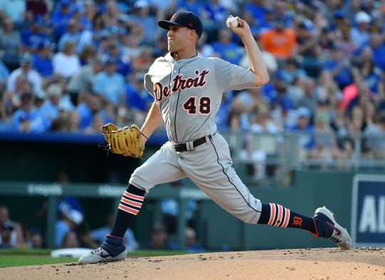 Detroit Tigers starting pitcher Matthew Boyd throws in the first inning against the Kansas City Royals at Kauffman Stadium on July 13, 2019 in Kansas City.