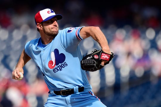 Max Scherzer of the Washington Nationals pitches in the second inning against the Kansas City Royals at Nationals Park on July 6, 2019 in Washington, DC. The Nationals paid tribute to the Montreal Expos by wearing retro jerseys.
