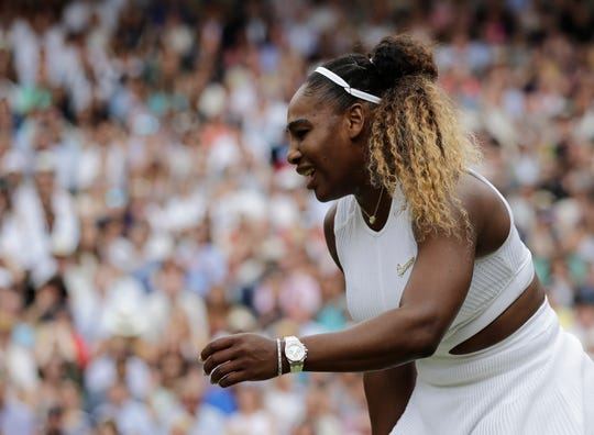 Serena Williams is dejected after losing a point during the women's singles final match against Simona Halep.