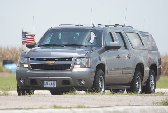 Vice President Mike Pence's motorcade enters the migrant tent city on Friday, July 12, 2019, in Donna, Texas.
