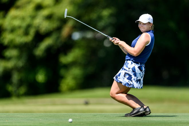 Katelyn Skinner reacts to missing a putt on the 17th hole green during the Courier & Press Women's City tournament at Helfrich Hills Golf Course in Evansville, Ind., Saturday, July 13, 2019. She made par on the hole.