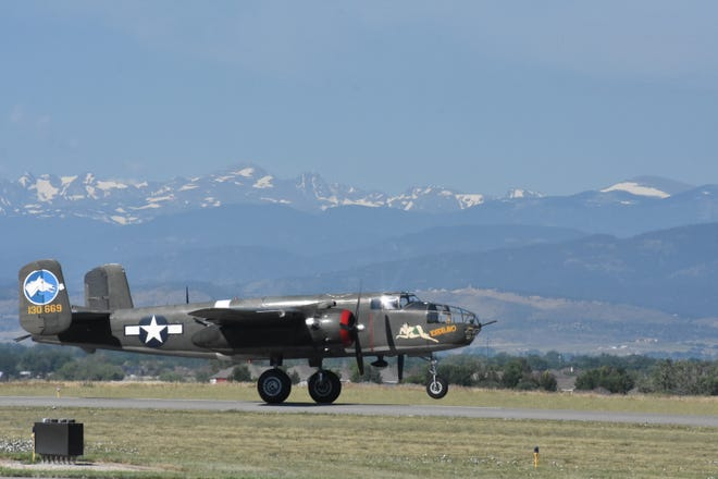 A vintage B-24 bomber gets ready to take off at the Northern Colorado Regional Airport. The plane was part of the Wings of Freedom tour event last year. The airport, owned by the cities of Loveland and Fort Collins, will receive nearly $17 million from the federal CARES Act fund to help address the coronavirus crisis.