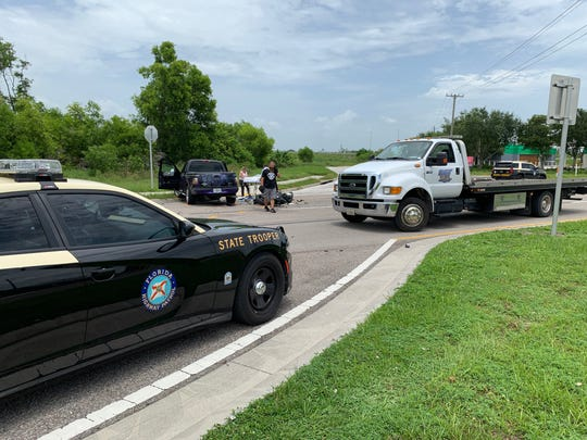 One person was killed in a crash between a pickup truck and a motorcycle along  South Tamiami Trail near Michael G. Rippe Parkway shortly before 12:30 p.m. Saturday.