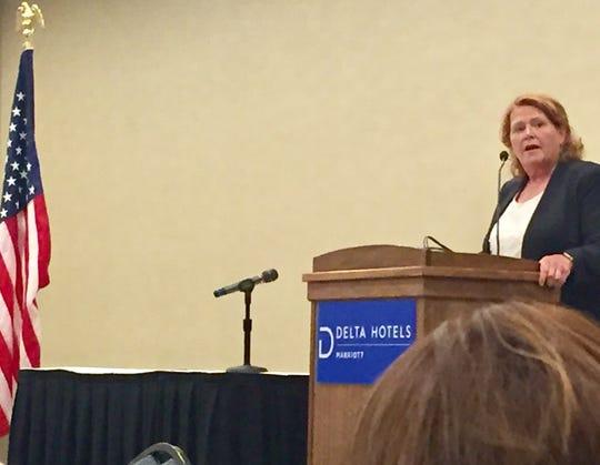 Heidi Heitkamp, former U.S. Senator from North Dakota, speaks Saturday to Montana Democrats in Helena.