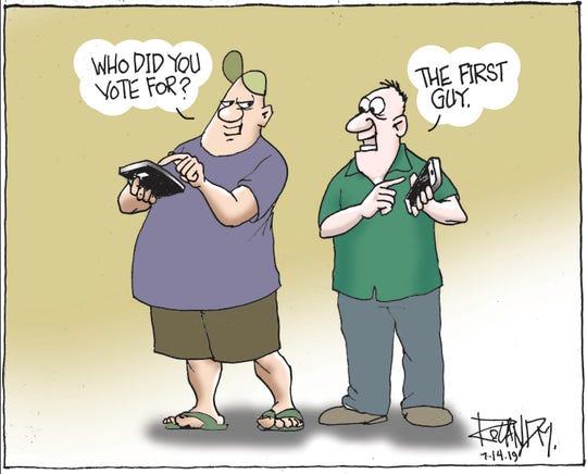 Sunday cartoon on improving voting.