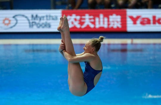 Sarah Bacon of Indianapolis competes Saturday during the women's 1 meter springboard diving final competition at the World Swimming Championships in Gwangju, South Korea.