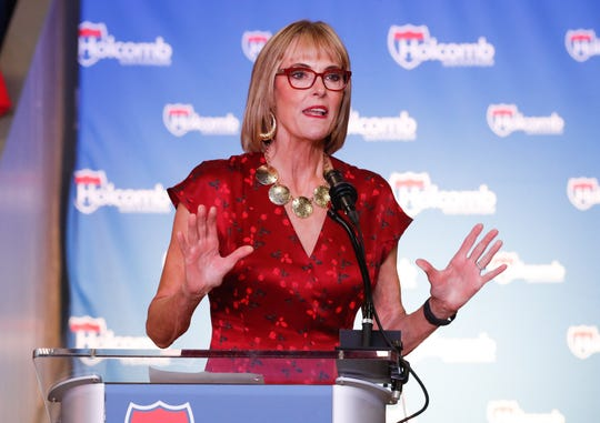 Indiana Lt. Governor Suzanne Crouch speaks during a reelection campaign kick off rally for Governor Eric Holcomb, held at the Hoosier Gym in Knightstown Ind. on Saturday, July 13, 2019.