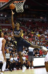 Pacers forward Alize Johnson (24) shoots during the first half of an NBA Summer League game against the Atlanta Hawks at Thomas & Mack Center.