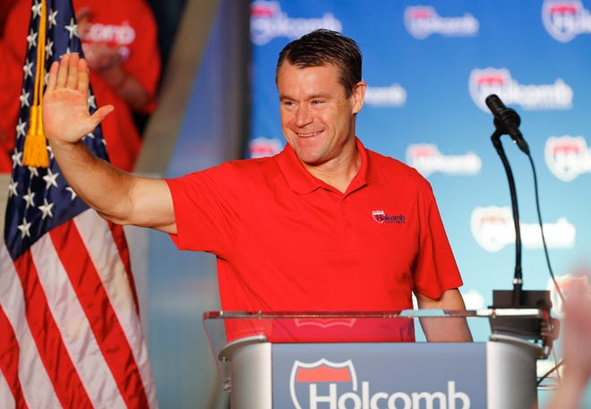 Ind. Sen. Todd Young speaks during a reelection campaign kick off rally for Governor Eric Holcomb, held at the Hoosier Gym in Knightstown Ind. on Saturday, July 13, 2019.