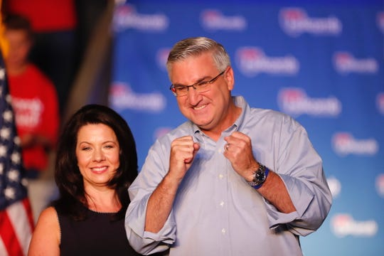 Gov. Eric Holcomb, and his wife Janet, celebrate his decision to run for reelection on Saturday, July 13, 2019. The announcement was made in Knightstown's iconic Hoosier Gym.