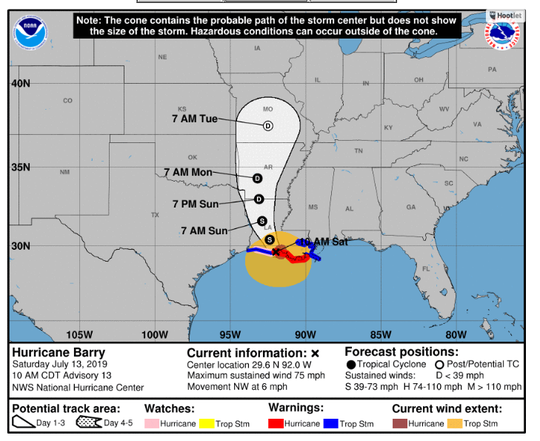 Barry has strengthened into a Category 1 hurricane ahead of its expected landfall around noon.