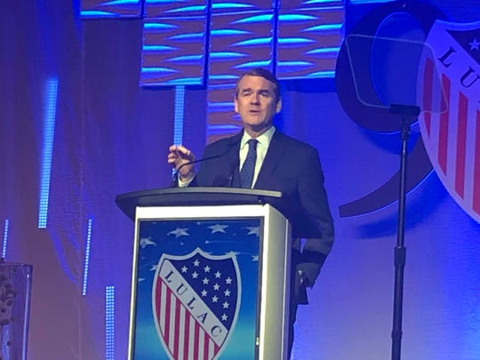 Presidential candidate and Colorado Sen. Michael Bennet speaks Friday night at the LULAC national convention banquet.