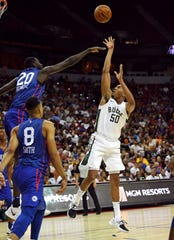 Bucks forward Bonzie Colson (shown in an earlier NBA Summer League game) led the Bucks with 14 points Friday night.