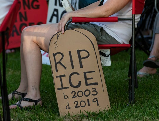 Residents of Ruston, La. and surrounding towns gathered at the Lincoln Parish courthouse to share stories and hold a candlelight vigil in protest of the Trump administration's immigration policies on July 12.
