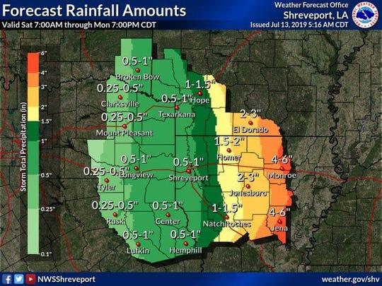 Forecast Rainfall Amounts as of July 13, 2019