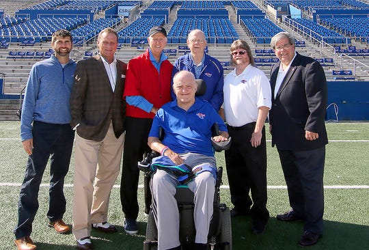 "What a crew! Veterans of the Joe Aillet Stadium pressbox, Ruston, La., opened in the fall, 1968. Prior to its demolition the week of 14Nov2016. (From left) Malcolm Butler, Teddy Allen, Keith Prince, Dave Nitz, Scott Boatright, Tom Morris, and (front) O.K. ""Buddy"" Davis. ALL RIGHTS RESERVED. c.2016.Louisiana Tech University Foundation. Kane McGuire photo."