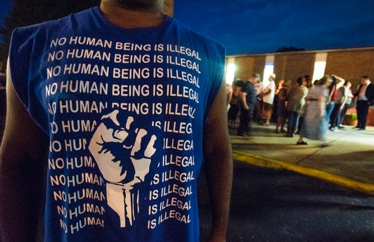 HOLA, Hispanic Outreach Leadership and Action, hosts the local protest of the conditions faced by migrants, as part of the worldwide Lights for Liberty: A Vigil to End Human Concentration Camps event, at the Unitarian Universalist Fellowship in Montgomery, Ala., on Friday July 12, 2019,