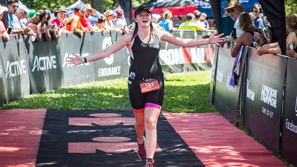 Lucy Martin is the youngest finisher of the 2019 Muncie Ironman 70.3 at Prairie Creek Reservoir Saturday, July 13, 2019. The race is divided into a 1.2-mile swim, 56-mile bike ride and 13.1-mile run.