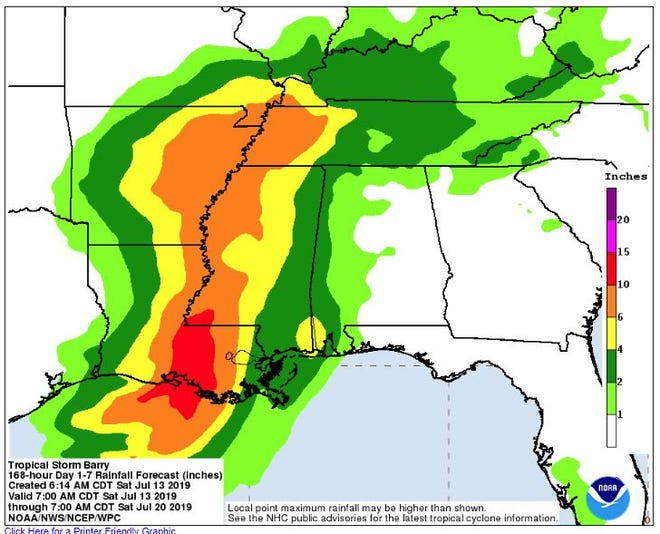 Tropical Storm Barry, expected to soon become a hurricane, threatens to bring heavy rainfall to the Gulf Coast and lesser rain to Tennessee