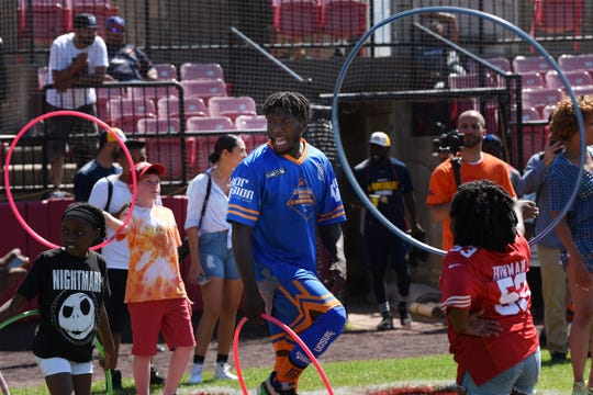 Nate Robinson & Friends Celebrity Kickball Game at Yogi Berra Stadium in Little Falls on Saturday July 13, 2019. Nate Robinson has a hula hoop contest with the kids.