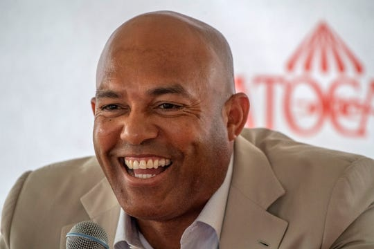 "Mariano Rivera speaks to the media during a visit to Saratoga Race Course on Friday, July 12, 2019, in Saratoga Springs, N.Y. The day's third race was named ""The Mariano Rivera Hall of Fame"" as part of the tribute to the retired New York Yankees pitcher."