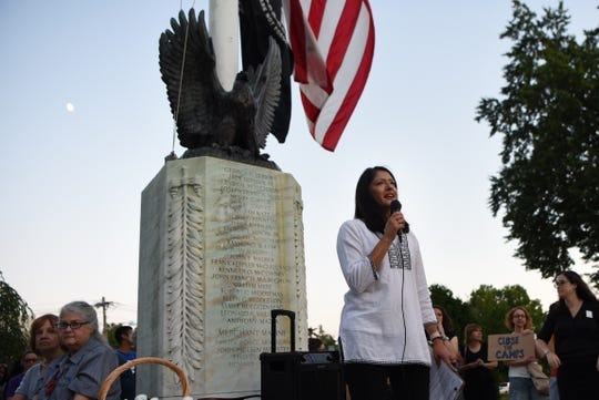 Teaneck joins nationwide Lights For Liberty Candlelight Vigil to protest immigration camps by the Teaneck municipal building on Friday July 12, 2019. Glen Rock Councilwoman Arati Kreibich and Founder of GRATM (Glen Rock After The March), speaks about her experience as an immigrant during the vigil.