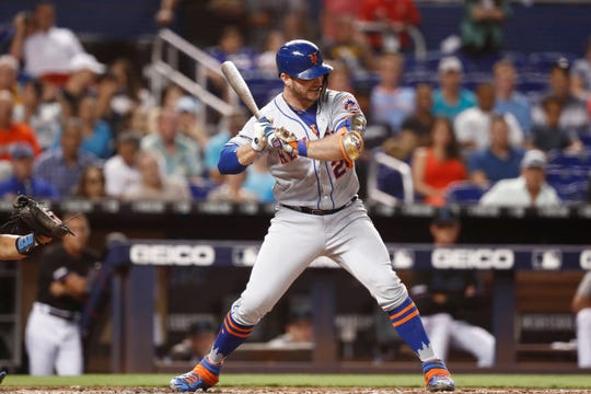 New York Mets' Pete Alonso (20) bats during the third inning of a game against the Miami Marlins on Friday, July 12, 2019, in Miami.