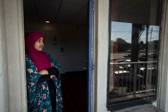 Malyuun Mahamed waits for be reunited with her husband Abdikadir Mohamed at a Motel 6 in Elizabeth on Saturday, July 13, 2019. Abdikadir had a visa to join her and their child in the U.S., but he never made it past the airport, where his visa was stamped for entry but he was stopped by a roving Customs and Border Protection officer who pulled him aside for questioning about his background. The interview was marred by lack of translation and misunderstanding, say lawyers. He was freed after 20 months in detention at the Elizabeth Detention Center.