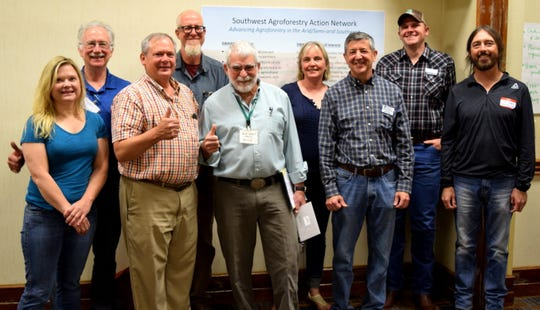 New Mexico State University is among the organizing members of the Southwest Agroforestry Action Network. Individuals representing New Mexico, Colorado, Utah and Arizona met to develop a mission statement, motto and goals. Among the participants were, front from left, Carol Bada, New Mexico Energy, Minerals and Natural Resources Department - Forest Division's conservation seedling program manager; Richard Straight, U.S. Department of Agriculture National Agroforestry Center's forest service lead agroforester; Mick O'Neill, NMSU professor emeritus; James Allen, Northern Arizona University executive director of the School of Forestry; and Sam Allen, NMSU research scientist. In the back row are Andy Mason, retired USDA Forest Service; Kevin Lombard, NMSU Agricultural Science Center at Farmington superintendent; Caiti Steele, USDA Southwest Climate Hub deputy director; and Steven Price, Utah State University Extension agricultural agent.