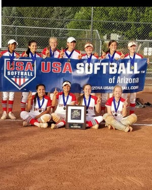 The New Mexico Express celebrates winning the Beat the Heat Tournament and College Showcase during the July 4 weekend, going a perfect 6-0. Top row, left to right: Madison Loera, Ashley Hernandez, Jessica Munro, Taighen Whitzel, Chanler Groves, Torie Sandoval, and Presley Skinner. Bottom row, left to right: Jaden Hernandez, Kamiley Marquez, Morgan Brannan and McKenzie Patterson.