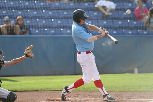 Dalton Thatcher of 4C-18 makes contact at the plate against the Oilers during Friday's City Tournament championship series at Ricketts Park in Farmington.