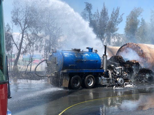 Firefighters responded on Saturday to a tanker trunk on fire in Coachella. The fire was contained in a couple of hours. No structures were damaged.