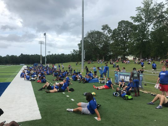 Campers wait at Pen Air Field prior to the start of the 2019 Go Argos Football Camp on July 12, 2019.