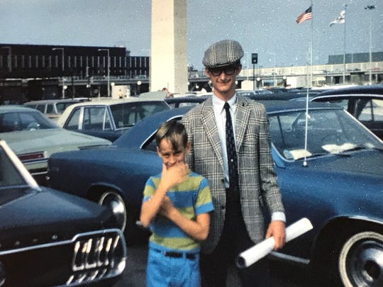 My brother Dave is amused by my sophisticated look returning from six weeks in Europe in the summer of 1969.