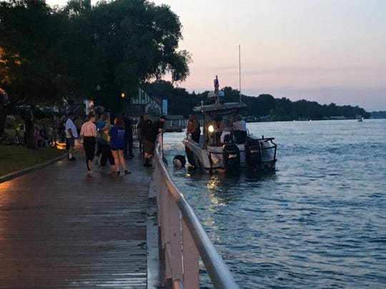 Rescue crews respond to the St. Clair boardwalk Friday evening.