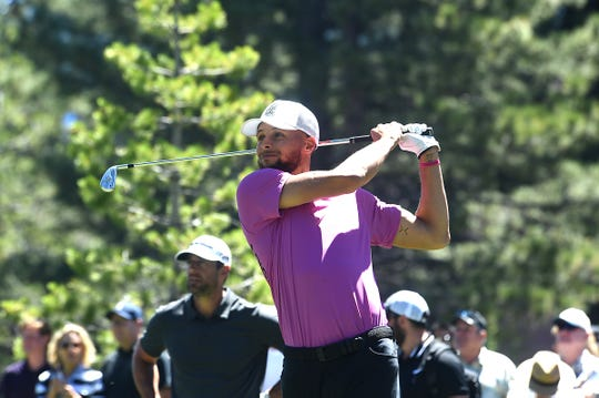 Steph Curry tees off on the 9th hole during the 2019 American Century Championship at the Edgewood Tahoe Golf Course on July 13, 2019.