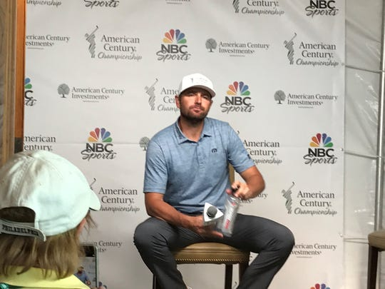 Mardy Fish gets ready to talk to the media on Saturday at Edgewood Tahoe