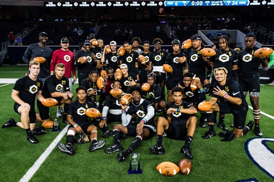 Chiles senior quarterback Garrett Greene (center, No. 12) was part of a winning Savages team during 7-on-7 play at Nike's The Opening Final in Oregon.