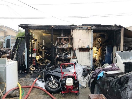 This was the scene after a garage fire Saturday morning in west Ventura.