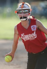Laurel's Paityn Blake delivers in the second inning of Laurel's 6-2 win to force a Saturday rematch against Camden-Wyoming to decide the Delaware major softball state tournament.