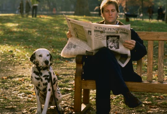 "Roger (Jeff Daniels) hangs out with his best buddy Pongo in ""101 Dalmatians."""
