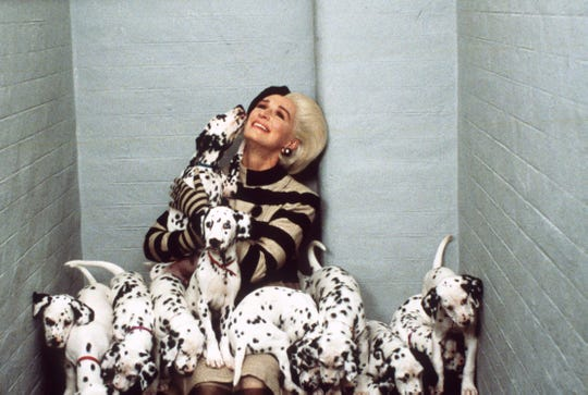 "Cruella de Vil (Glenn Close) has some complicated feelings when it comes to dogs in the sequel ""102 Dalmations."""
