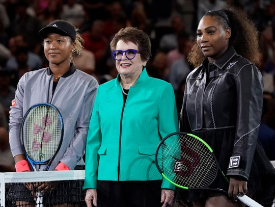 Billie Jean King spent time with Naomi Osaka and Serena Williams at last year's U.S. Open.